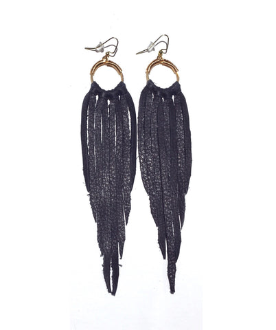Signature Fringe Earrings: Black