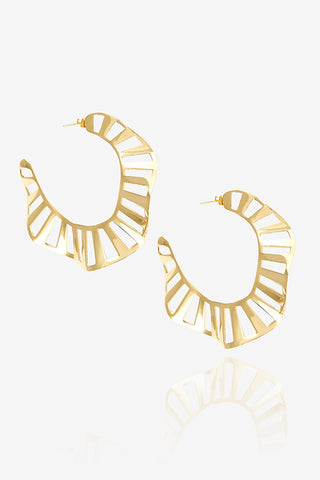 Large Stripe Ruffle Hoop Earring