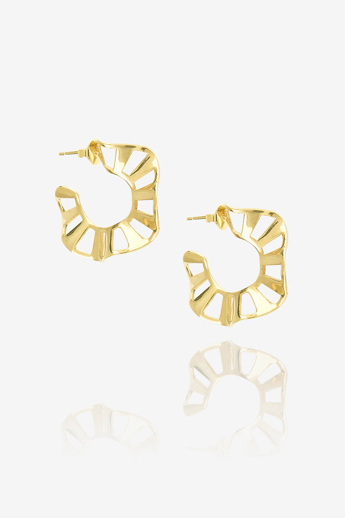 Small Stripe Ruffle Hoop Earring