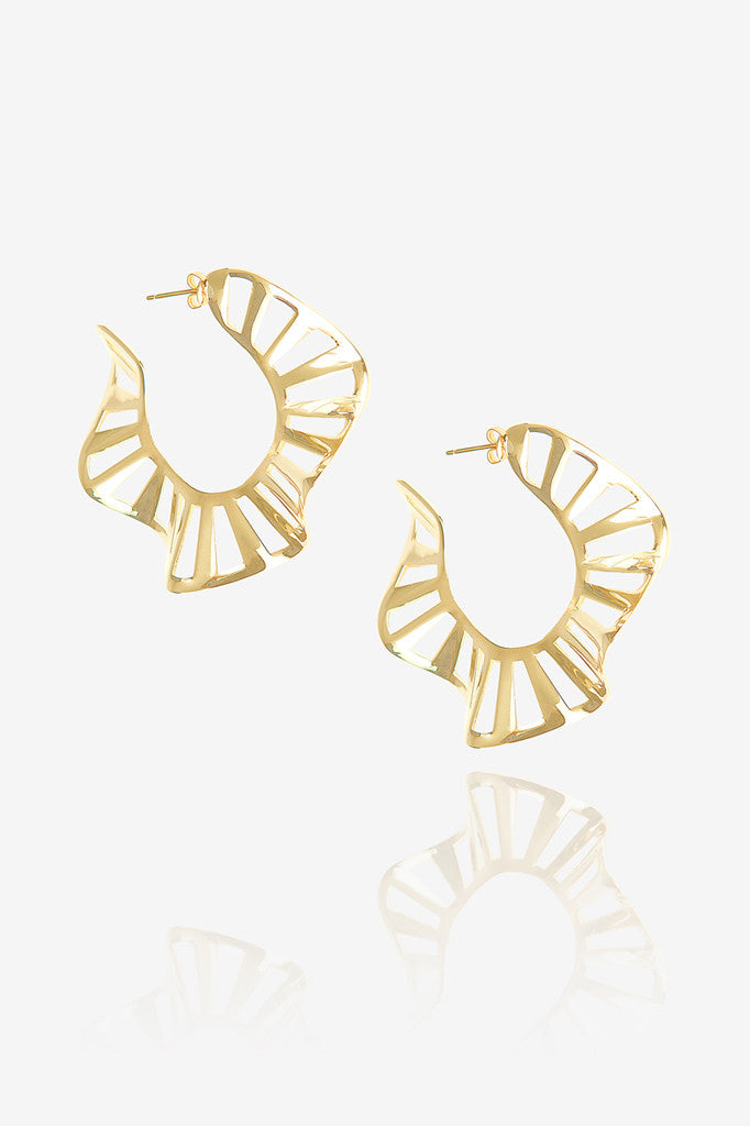 Medium Stripe Ruffle Hoop Earring