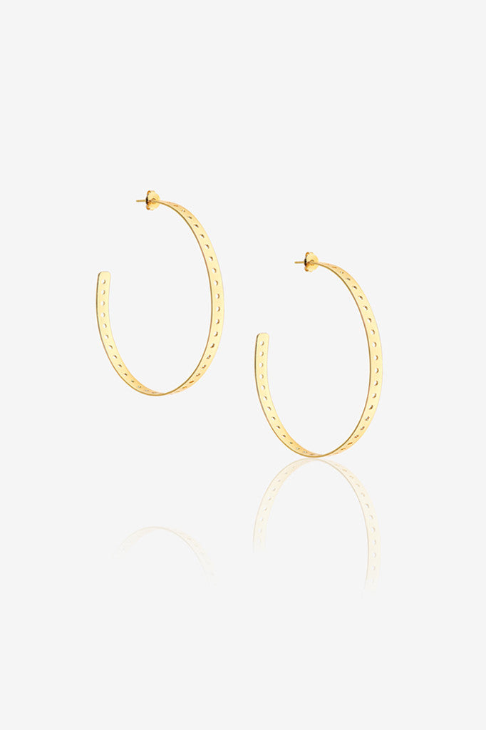 Large Punch Hole Hoop Earring