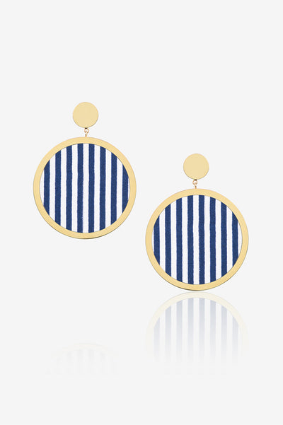 White And Blue Stripe Earring
