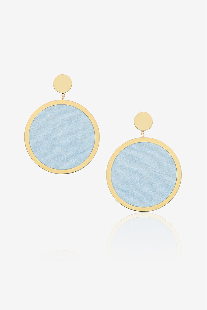 Light Denim Circle Earring