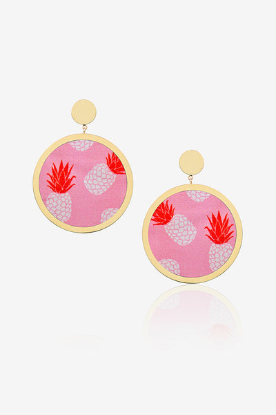 Pink With Pineapple Earring
