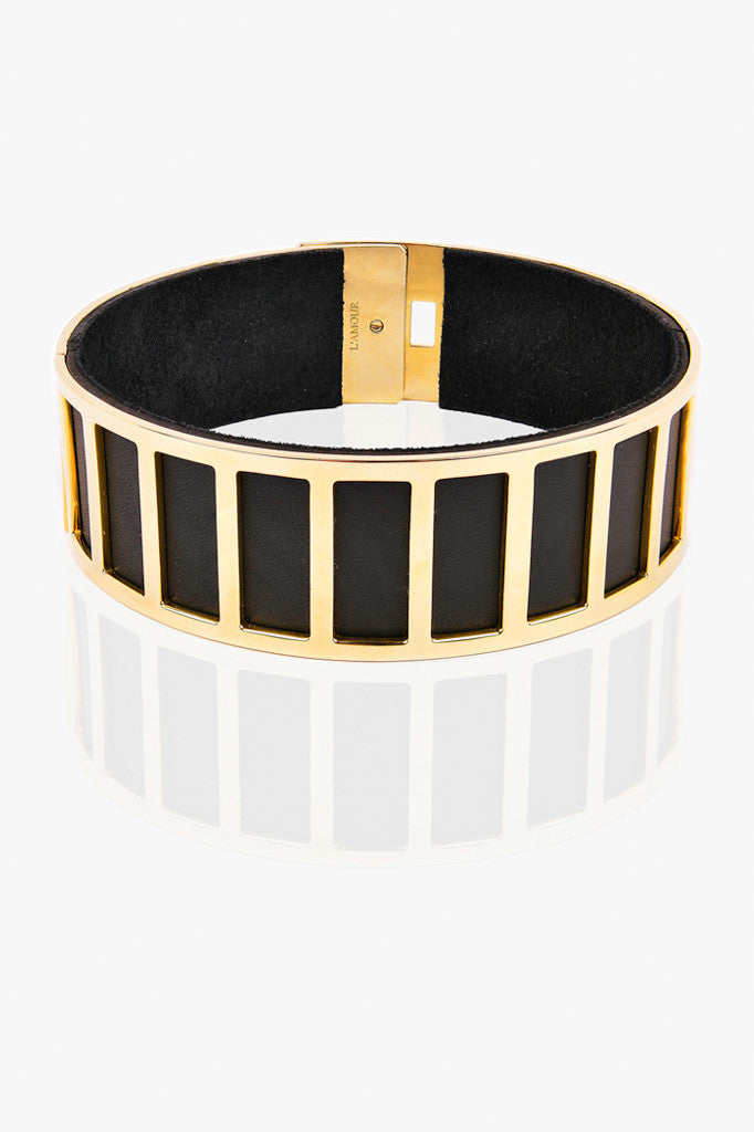 Stripe Leather Choker