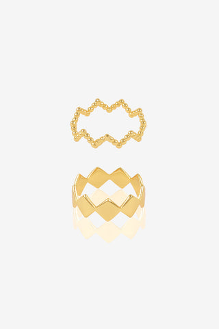 Set of 2 Sphere & Crown Rings