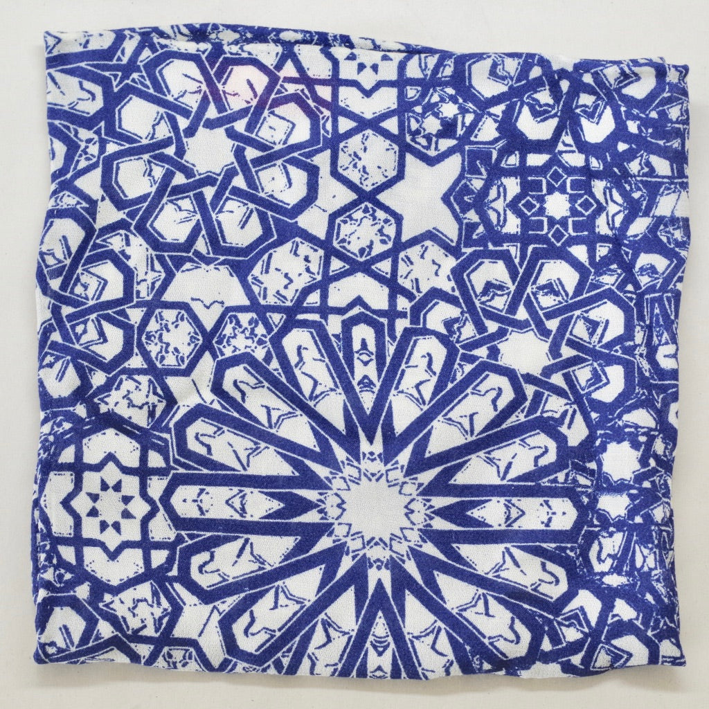 Ornate Blue and White Rayon Pocket Square by Put This On