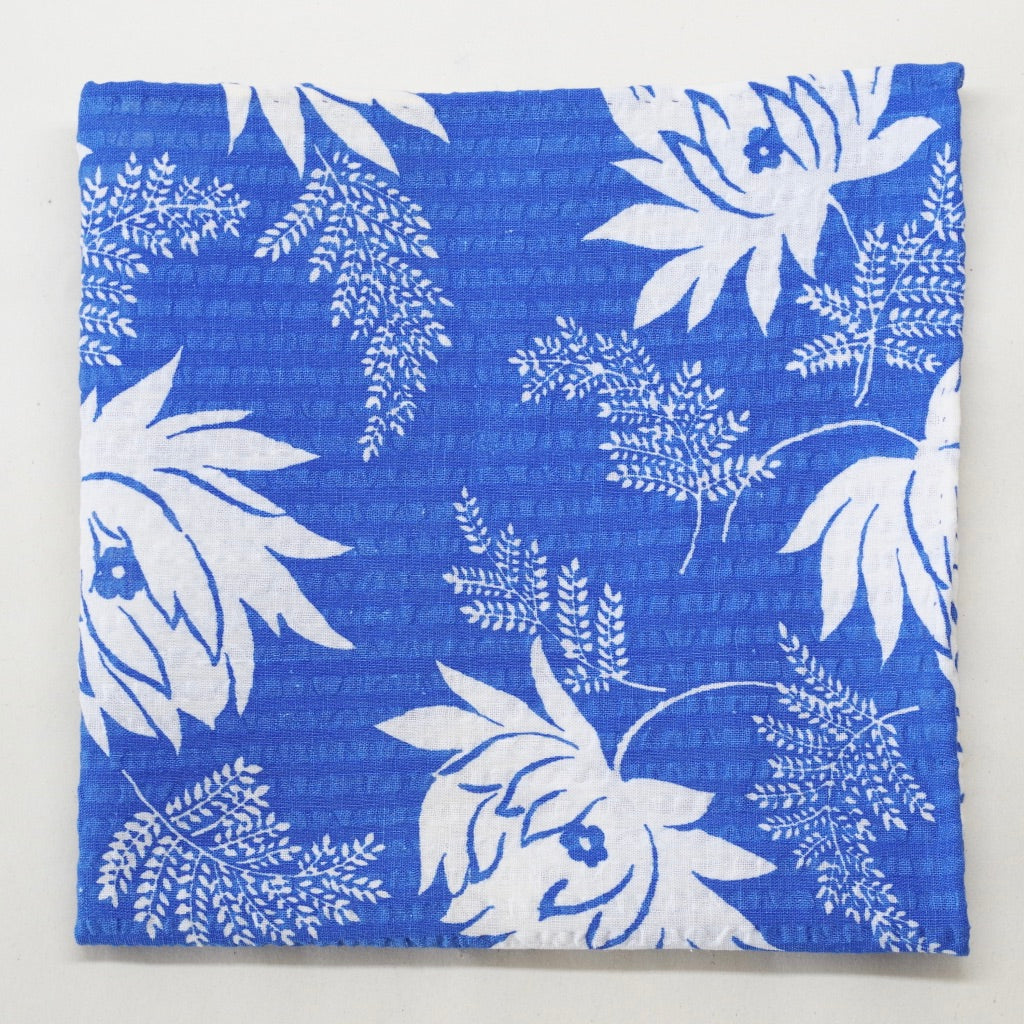Bright Blue and White Floral Seersucker Pocket Square by Put This On