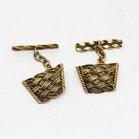 Gold-on-Silver Basket Weave Cufflinks