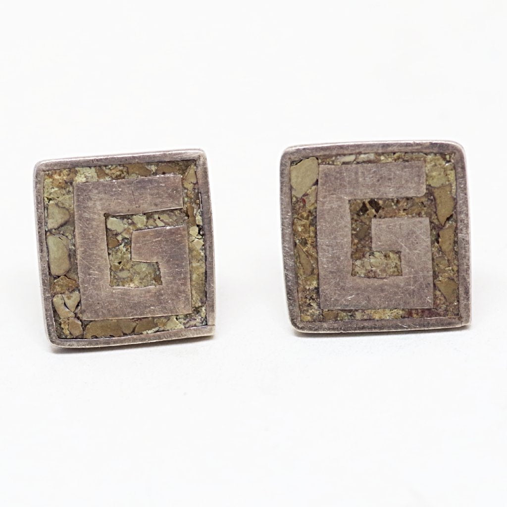 "Sterling Mexican Silver ""G"" Cufflinks"