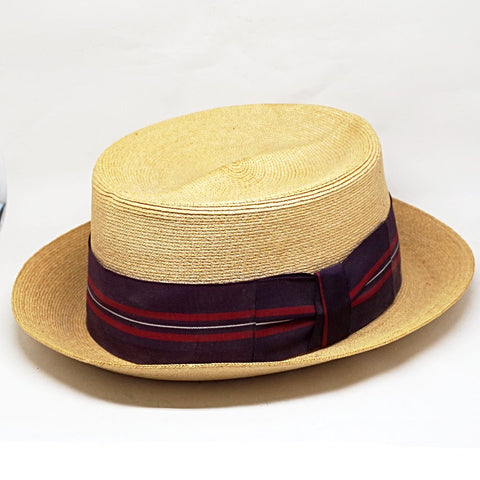1950s Straw Habana Panama Hat w/ Red & Purple Band- 7 1/4