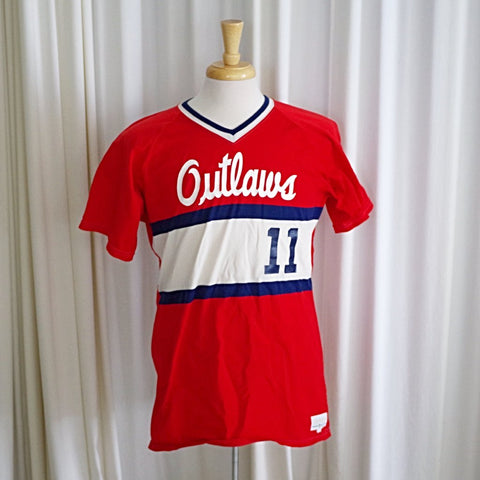 "Vintage Red ""Outlaws"" Jersey Tee Shirt- M/L"