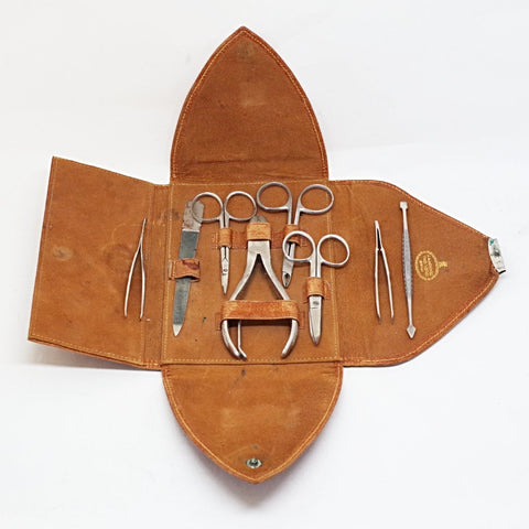 Vintage Vanity Tool Set in Leather Wallet