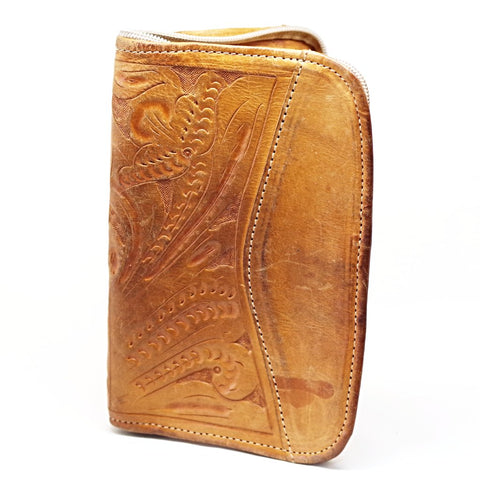 Tan Tooled Leather Zip Wallet