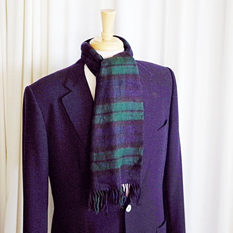 Luscious Cashmere Black Watch Plaid Scarf