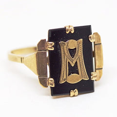 "9ct Gold Monogrammed ""M"" (or ""W"") Ring"