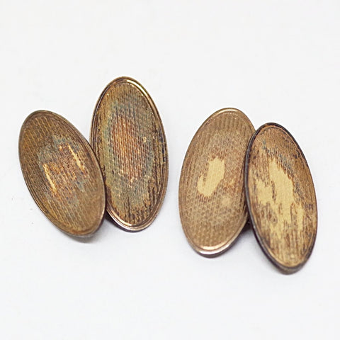 Gold On Silver Edwardian Etched Cufflinks