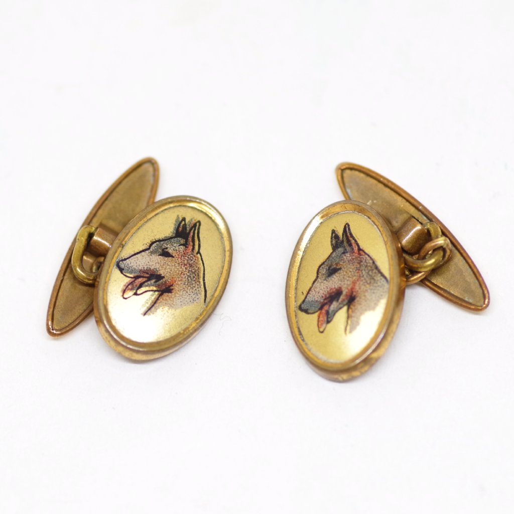 English 1930s Gilt Panting Dog Cufflinks