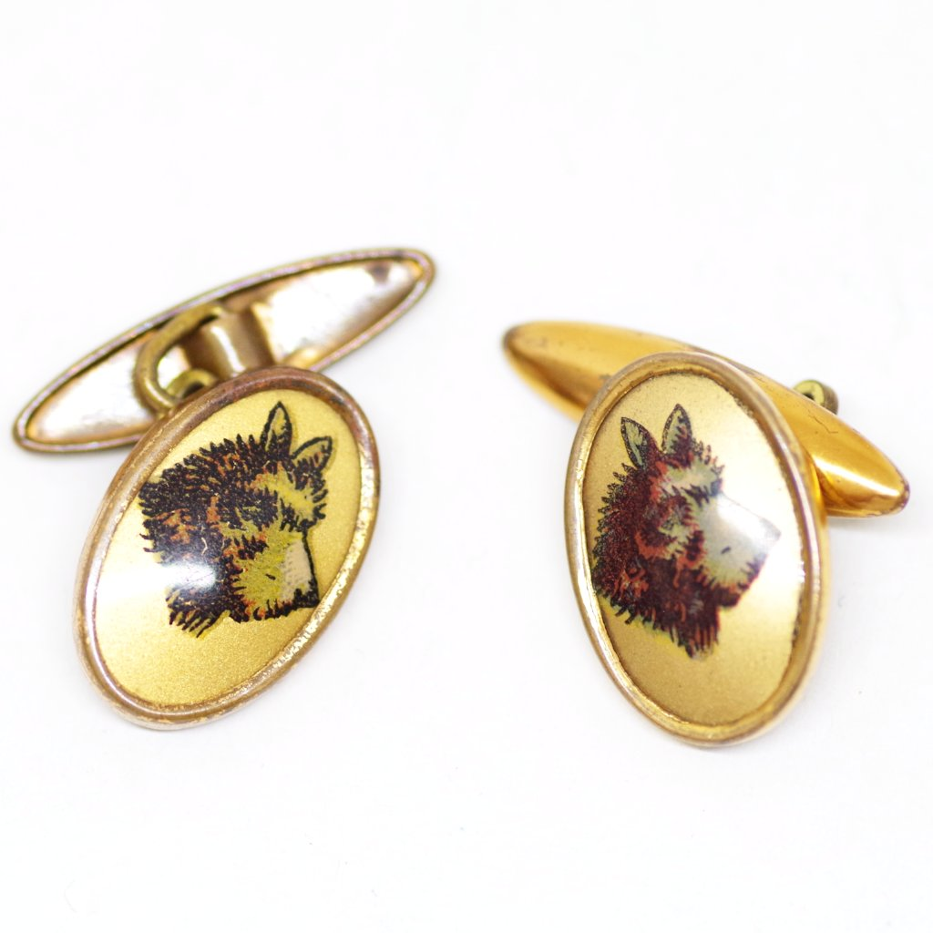 1930s Gilt Golden-Backed Scotty Dog Cufflinks