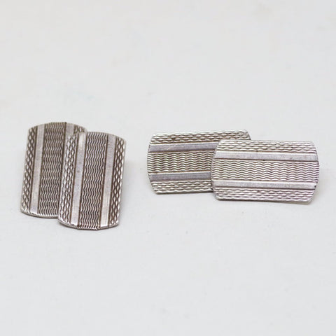 Edwardian Silver Multi-Patterned Etched Cufflinks