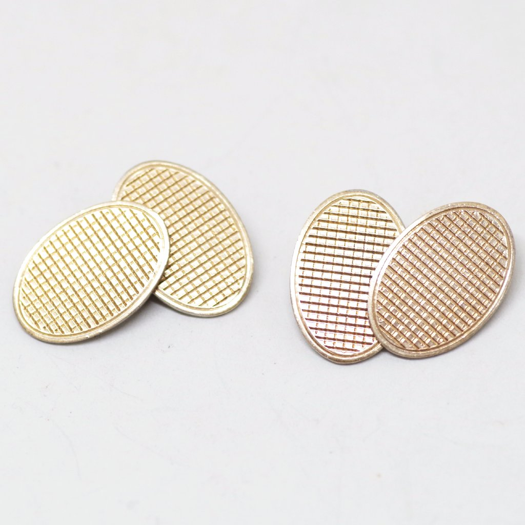 Edwardian 9ct Gold on Silver Gridded Cufflinks