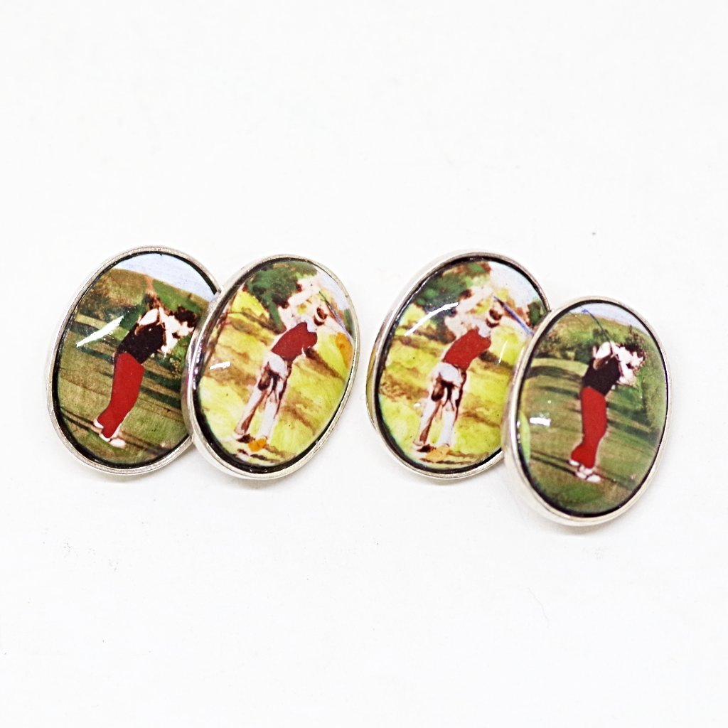 Sterling Backed 1930s Golfer Portrait Cufflinks
