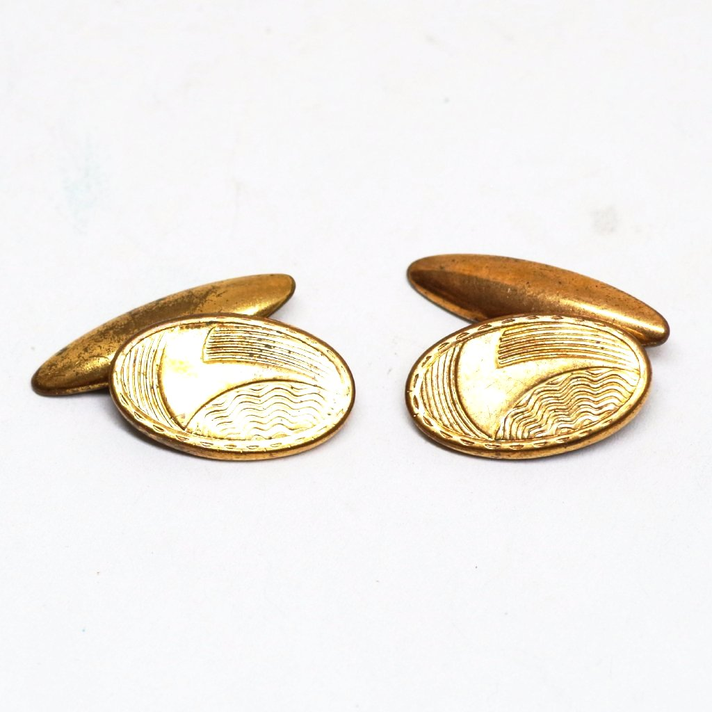 Abstract Etched ca. 1940s Cufflinks