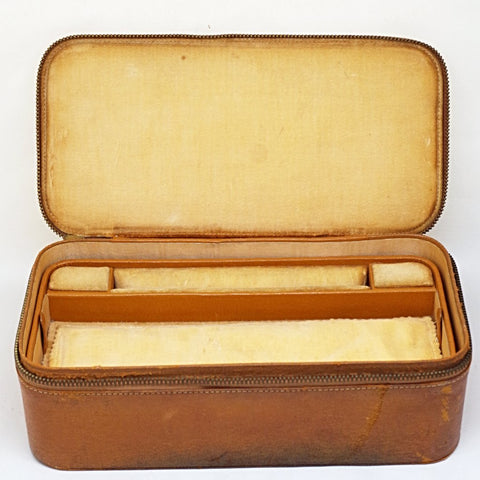 Vintage Leather Traveling Jewelry Case
