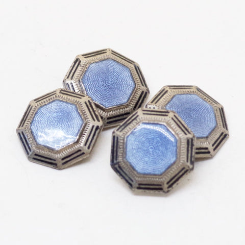 1920s Sterling Light Blue Enamel Cufflinks