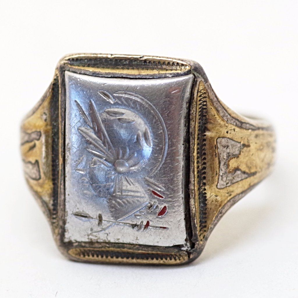 14k Gold on Silver Classical Soldier Portrait Ring