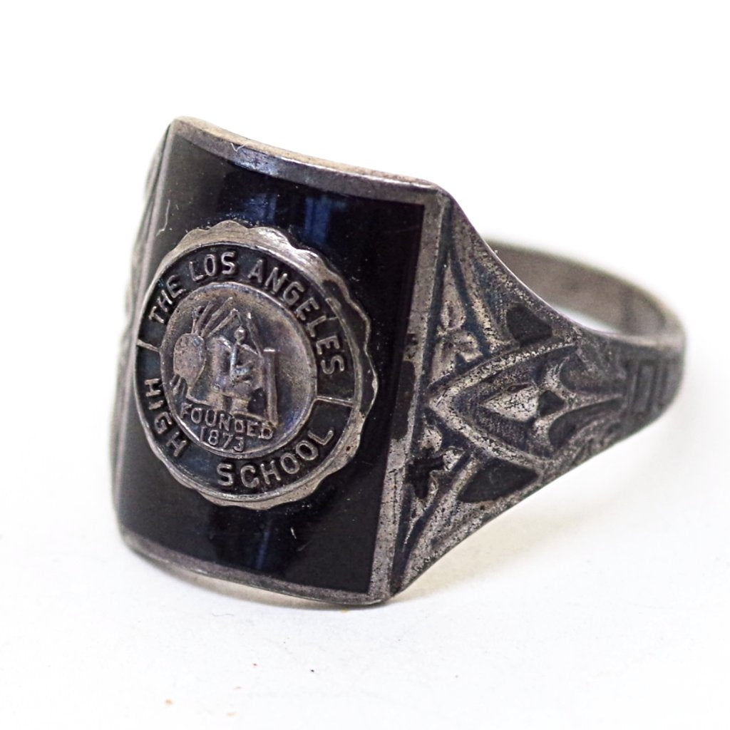 Sterling and Black Enamel Los Angeles High School Ring