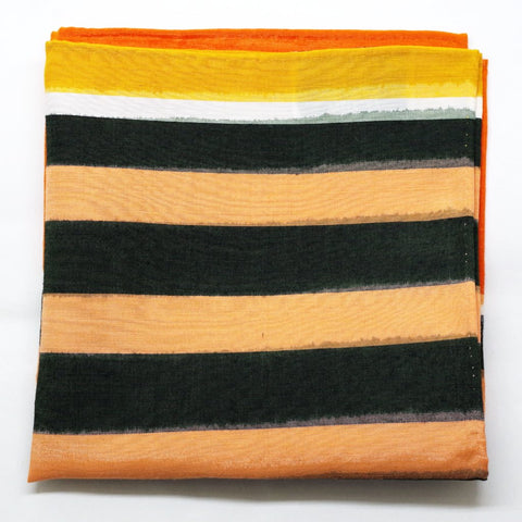 Bold Orange, Pink, and Green Striped Silk Pocket Square by Put This On