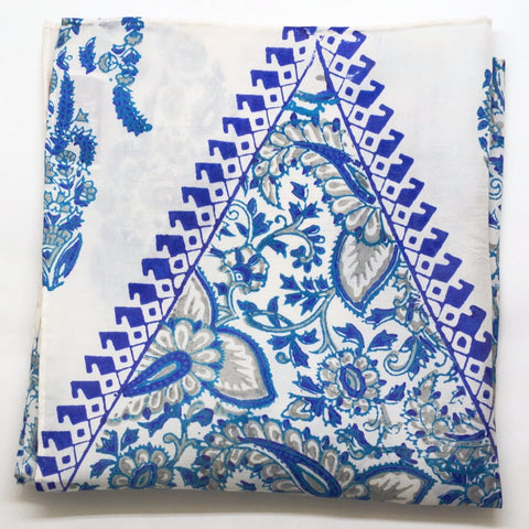 Flowing White and Blue Paisley Pocket Square by Put This On
