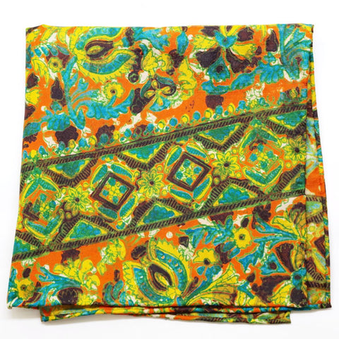Bursting Orange, Blue, and Yellow Floral Silk Pocket Square