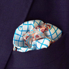 Windowpane and Paisley Blue and Brown Silk Pocket Square by Put This On
