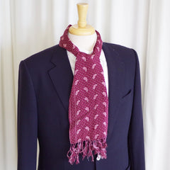 Dots and Paisley Purple Silk Scarf