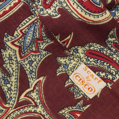 Gorgeous 1940s Brown, Yellow, and Red Paisley Rayon Scarf
