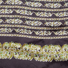 1940s Abstract Brown and Cream Silk Scarf