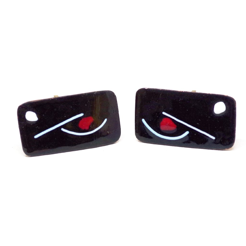 Abstract Black, White, and Red Enamel Cufflinks