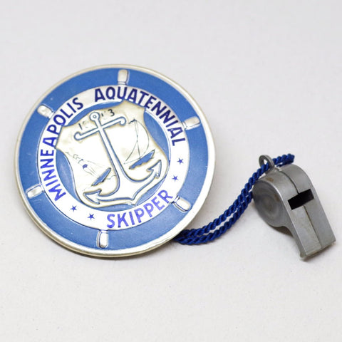 1953 Minneapolis Aquatennial Skipper Pin w/ Whistle