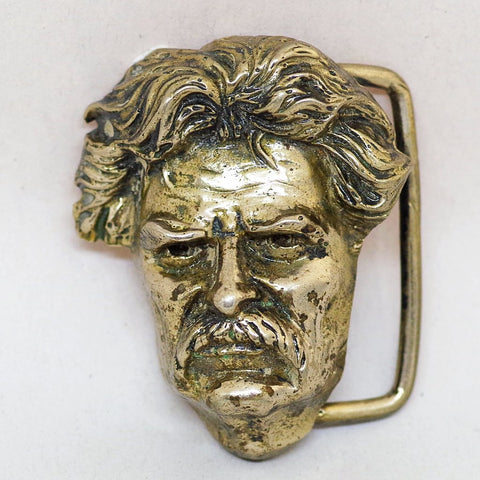 Custom-Made Brass Mark Twain Belt Buckle