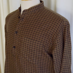 1930s Vintage Brown and Black Check Long Shirt- 42