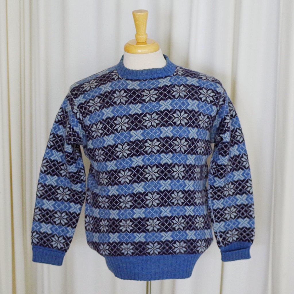 Blue Fair Isle Blue and Black Sweater- S