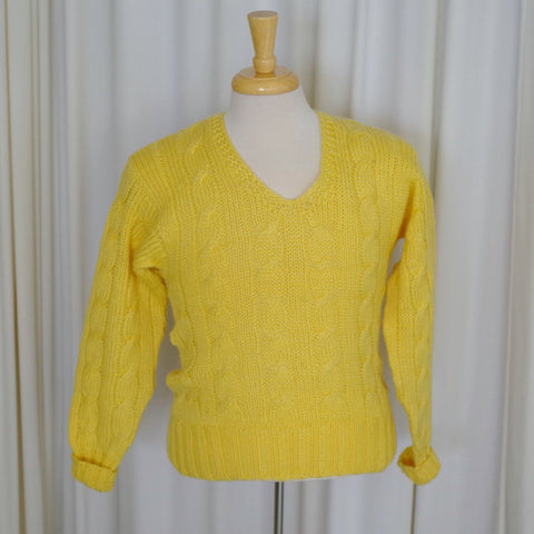 Yellow V Neck Cable Knit Sweater- S/M