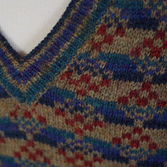 Earth Tone Fair Isle Sweater- M