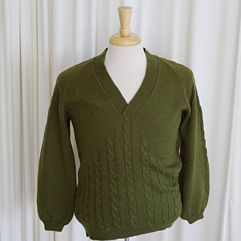Solid Green Raglan Sleeve V Neck Sweater- S