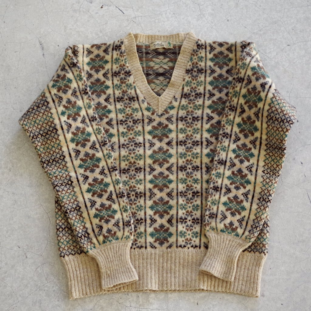 Green and Brown Shetland Sweater- XS