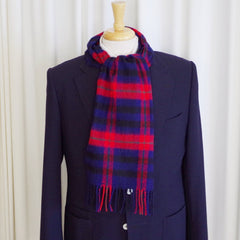Blue, Red, and Green Check Wool Scarf