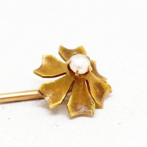 10kt Gold Bursting Floral Pearl Stick Pin