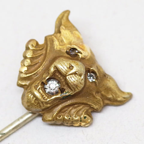 14k Gold Roaring Diamond-Mouthed Stick Pin